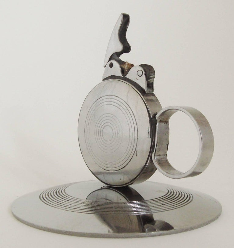 Rare Japanese Art Deco Chrome Chamber-Stick Styled Wheel and Flint Table Lighter In Excellent Condition For Sale In Port Hope, ON