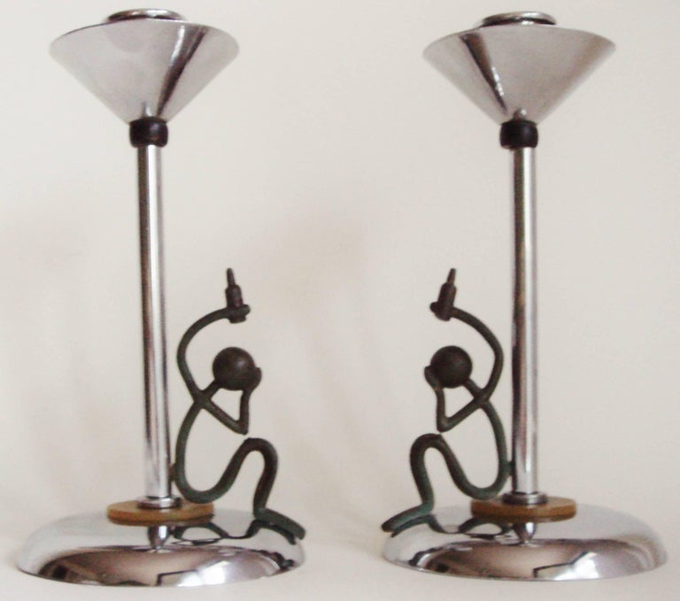 Pair of English Chrome Art Deco