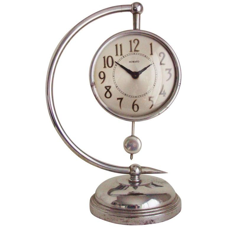 American Art Deco Chrome Electric Howard Mfg. Co. Demilune Mantel Clock For Sale