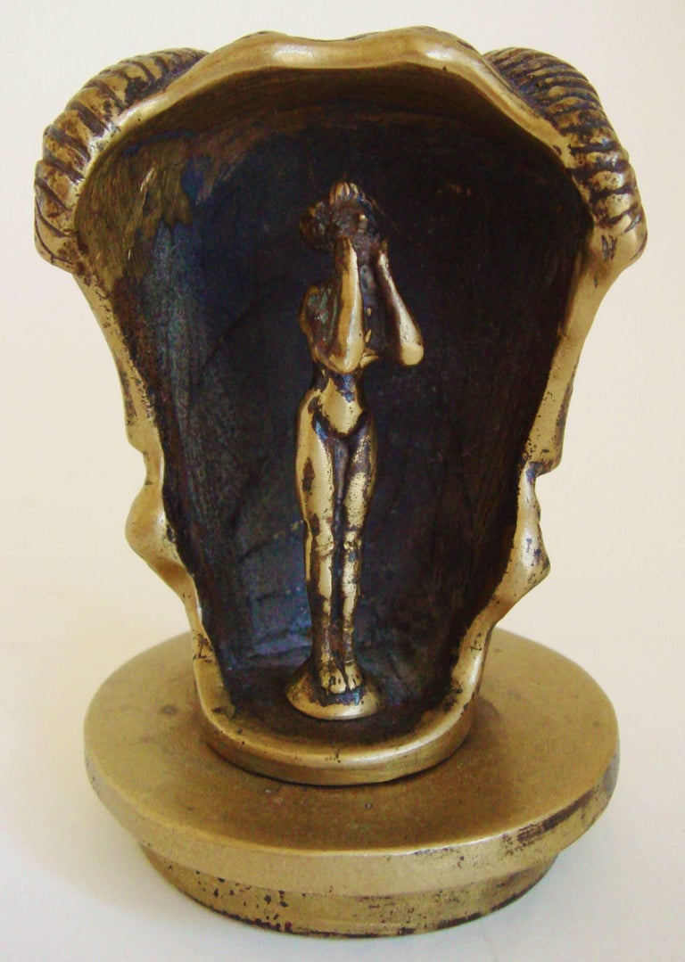 Early 20th Century French Art Deco Bronze Secret Erotic Mephistopheles Car Mascot/Hood Ornament For Sale
