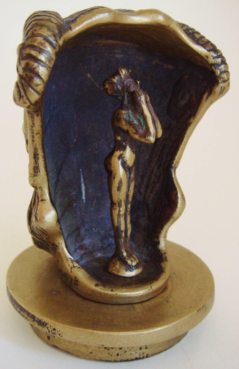French Art Deco Bronze Secret Erotic Mephistopheles Car Mascot/Hood Ornament In Excellent Condition For Sale In Port Hope, ON