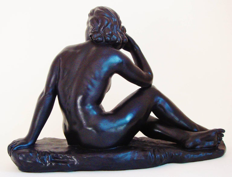 Canadian Mid-Century Painted Plaster Figural Seated Nude Sculpture by Jackir In Excellent Condition For Sale In Port Hope, ON