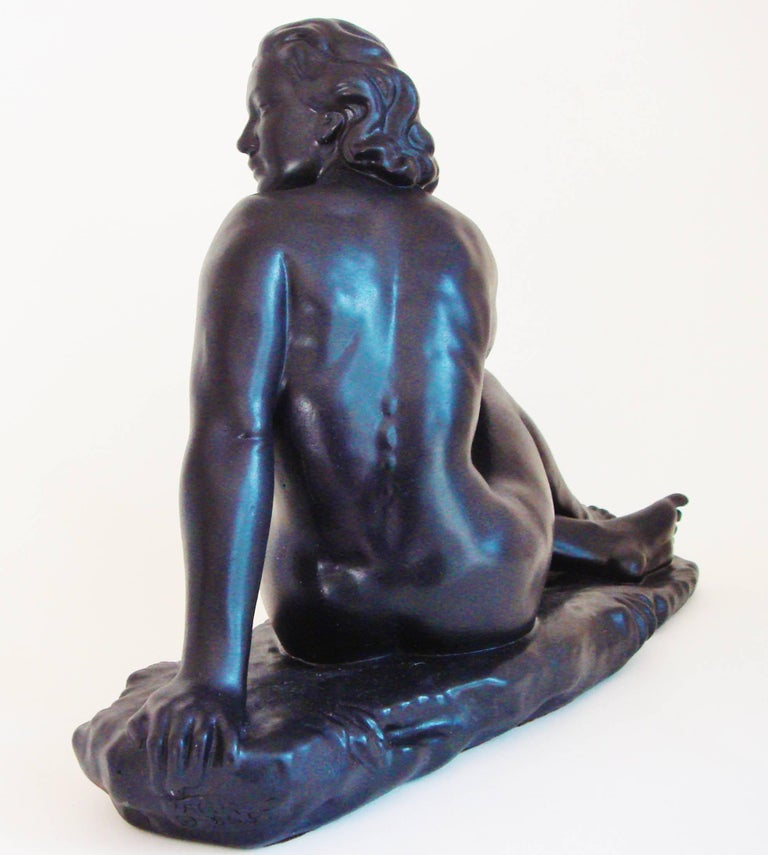 Mid-20th Century Canadian Mid-Century Painted Plaster Figural Seated Nude Sculpture by Jackir For Sale