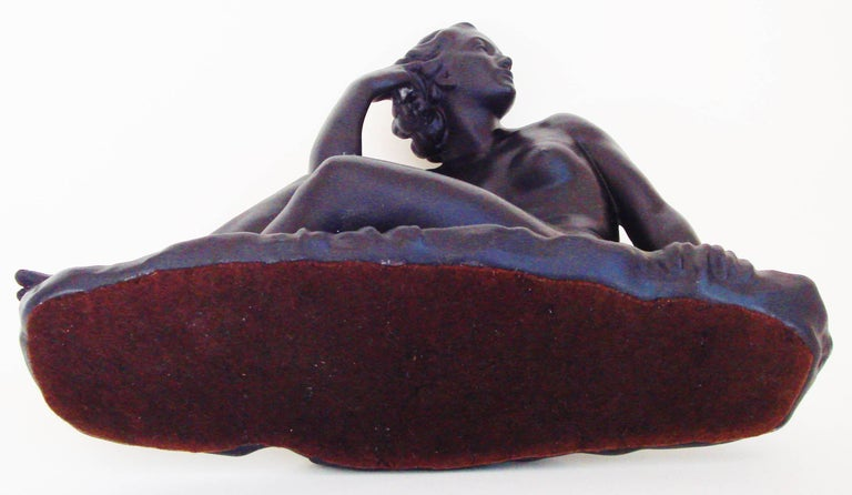 Canadian Mid-Century Painted Plaster Figural Seated Nude Sculpture by Jackir For Sale 5