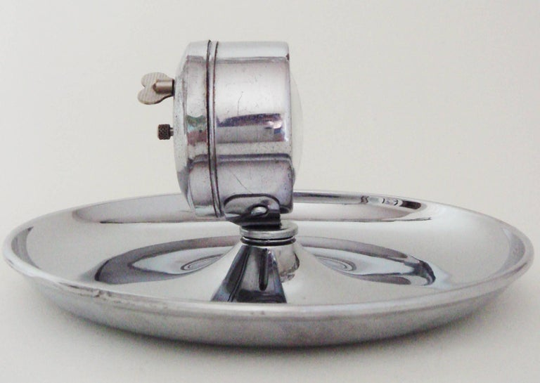 Plated German Art Deco Chrome Cigar Desk Ashtray with Mechanical Clock For Sale