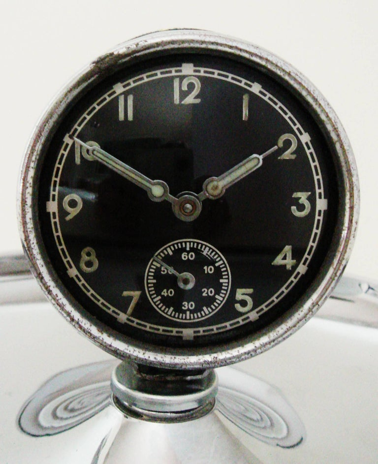 Early 20th Century German Art Deco Chrome Cigar Desk Ashtray with Mechanical Clock For Sale