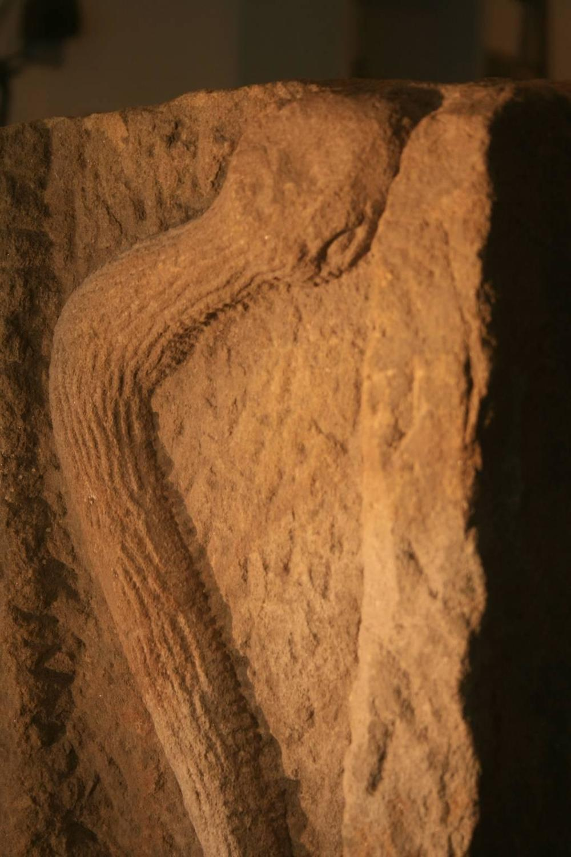 Folk art stone carved snake downspout at stdibs