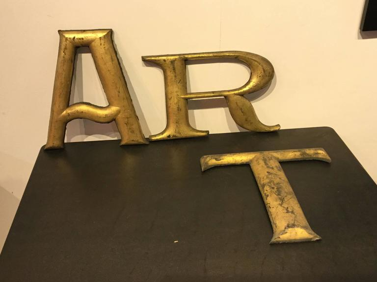 Three victorian sign letters art in gold leaf font for for Furniture 5 letters