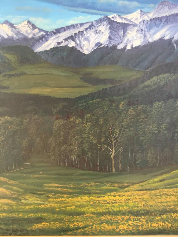 Large rocky mountain landscape painting Southern Colorado. Not sure of exact location but looks a lot like Southern Colorado. Great sweep of space the artist skillfully glides your eye across the vast terrain of the warm meadow across a forested