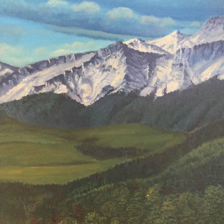 American Large Rocky Mountains Landscape Painting Colorado For Sale