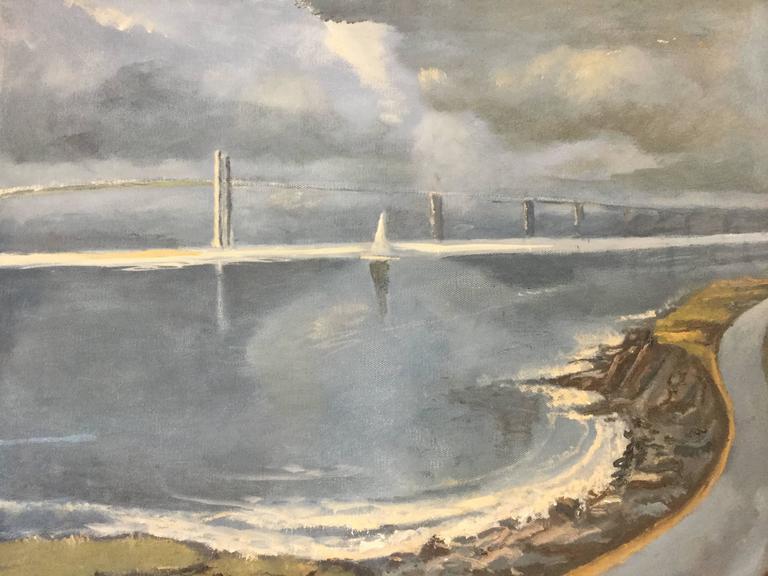Oil Painting Newport Rhode Island Sailboats Narragansett