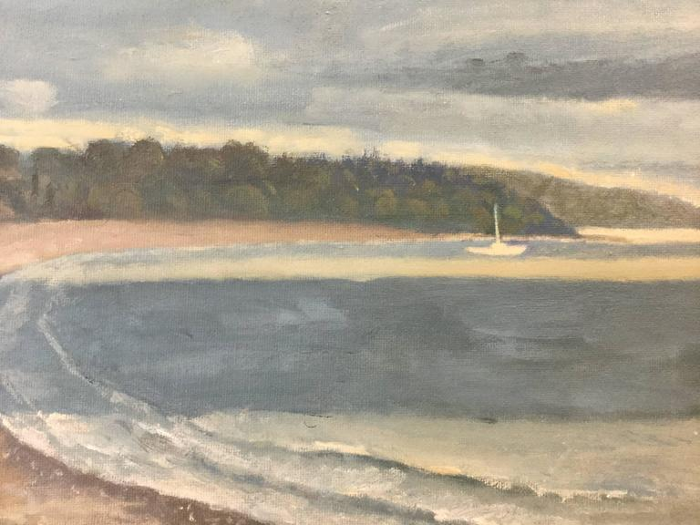 American Painting Newport Rhode Island Third Beach November Sky For Sale