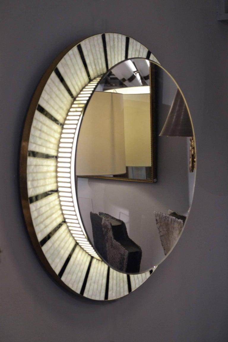 1960s Illuminated Round Mirror Edged With Black And White