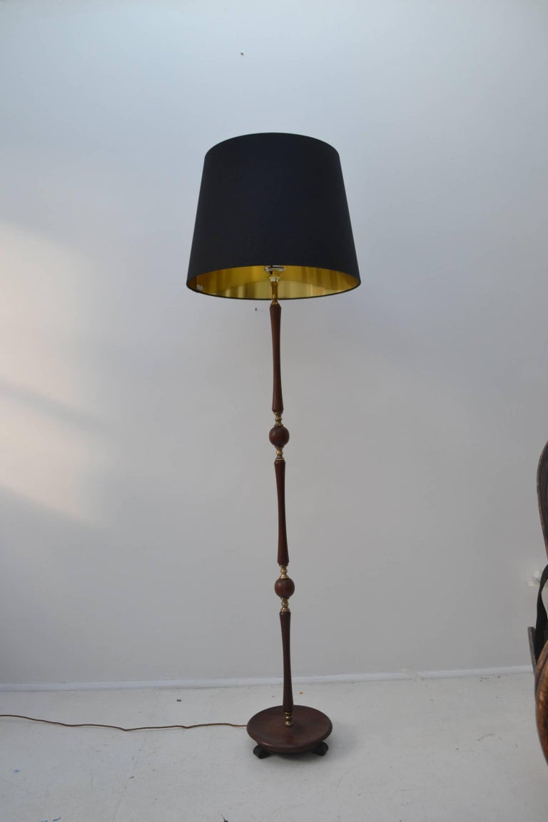 Teak And Brass Floor Lamp With Black Silk Shade For Sale