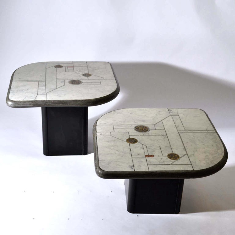 Dutch Pair of Sculptural White Mosaic Coffee Tables by Paul Kingma, Signed Kneip 1989 For Sale