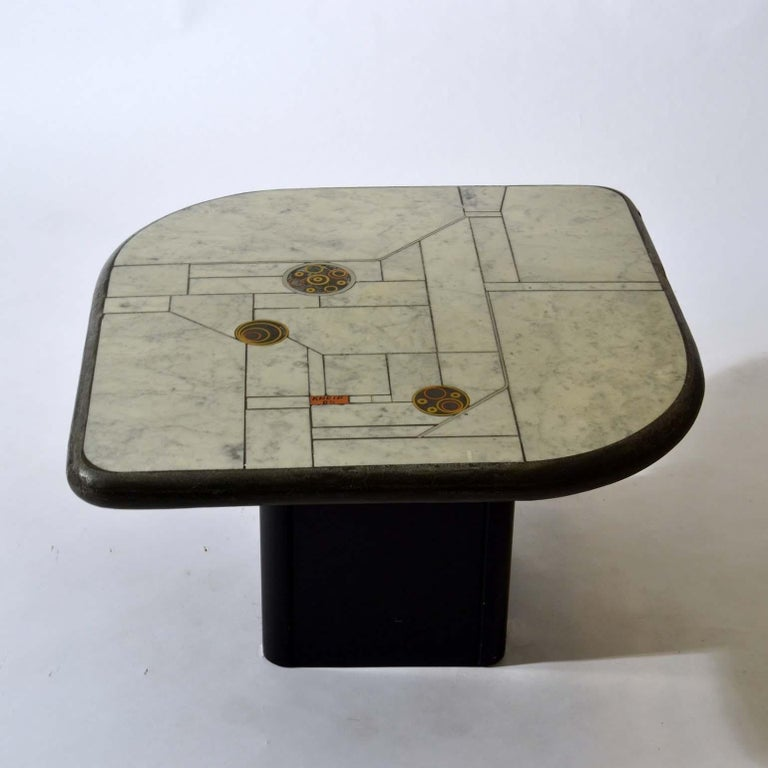 Pair of Sculptural White Mosaic Coffee Tables by Paul Kingma, Signed Kneip 1989 In Good Condition For Sale In London, GB