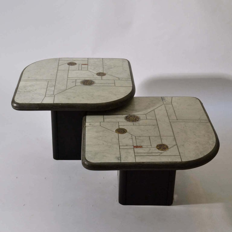 Late 20th Century Pair of Sculptural White Mosaic Coffee Tables by Paul Kingma, Signed Kneip 1989 For Sale