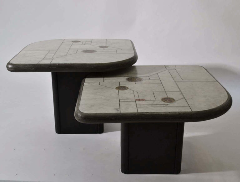 Pair of Sculptural White Mosaic Coffee Tables by Paul Kingma, Signed Kneip 1989 For Sale 4