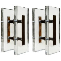 Double Pair of Large Clear Glass and Bronze Push and Pull Door Handles
