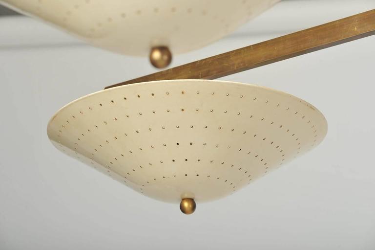 Mid Century Modern Large Italian Brass Cream Shade Starburst Flush Mount Chandelier For