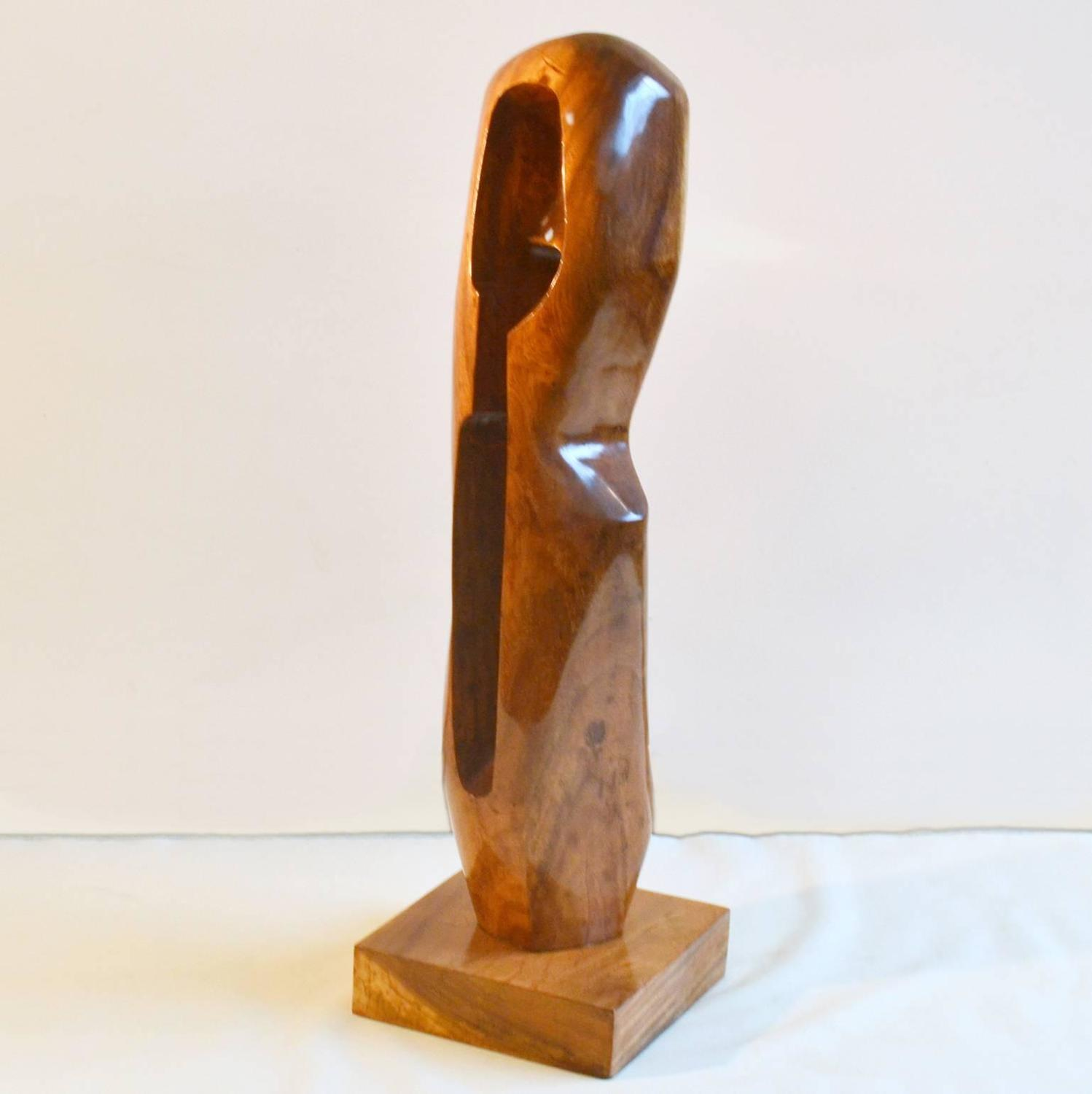 Large abstract sculpture in hand carved wood for sale at