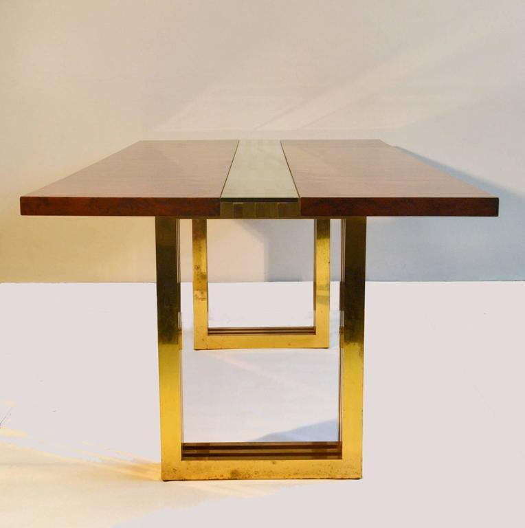 Tremendous 1960S Burl Wood And Brass Dining Table By Romeo Rega Interior Design Ideas Tzicisoteloinfo
