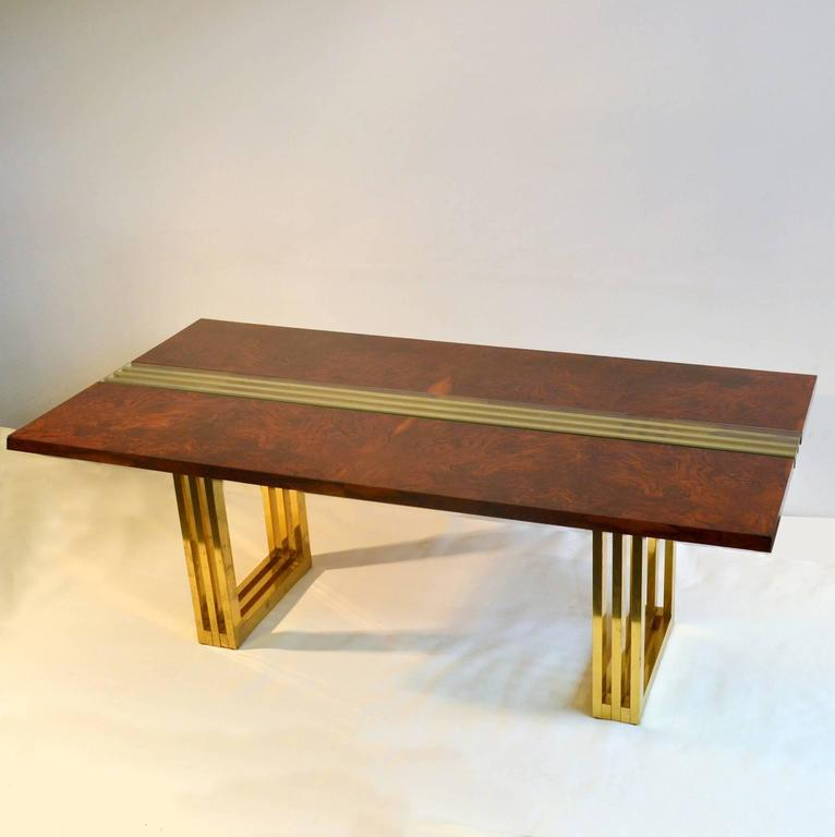 Burl wood and brass dining table by romeo rega for sale at