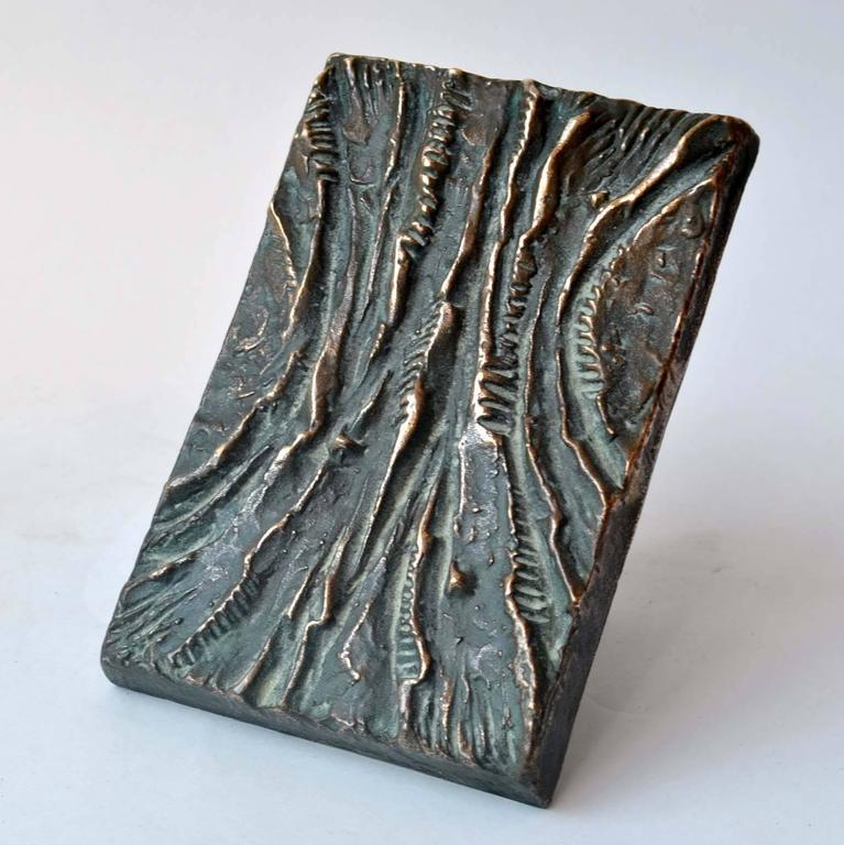 Artistic rectangular bronze cast door handle with a textural relief in vertical curves and dark patina, suitable for push and pull doors.