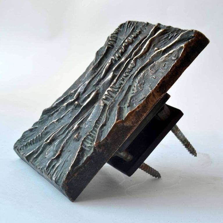 Mid-Century Modern 1970's Sculptural Bronze Push and Pull Art Door Handle For Sale