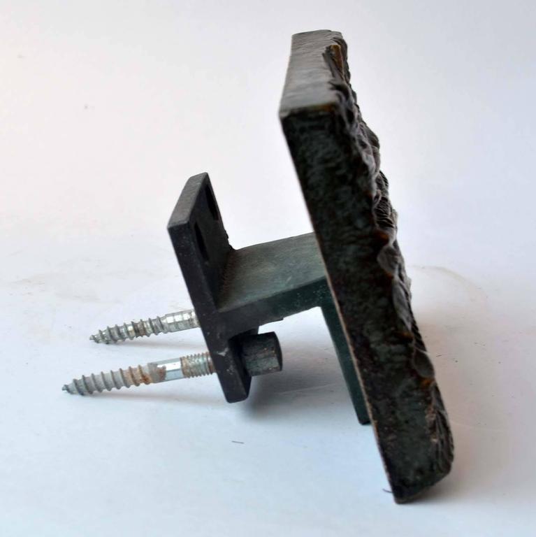 Cast 1970's Sculptural Bronze Push and Pull Art Door Handle For Sale
