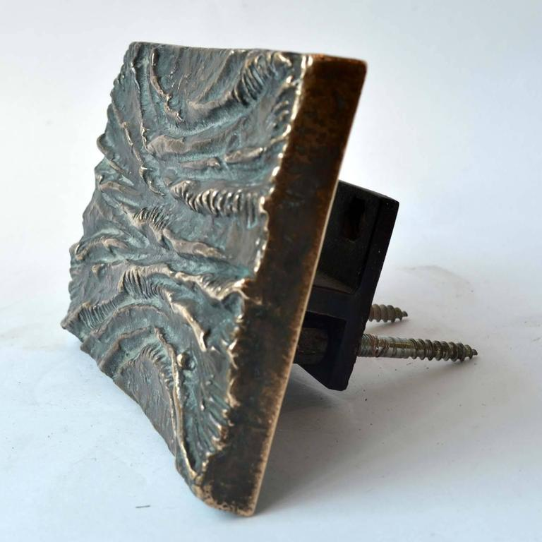 1970's Sculptural Bronze Push and Pull Art Door Handle In Excellent Condition For Sale In London, GB