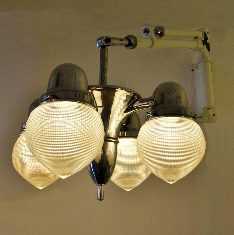 Industrial Dentist Wall Lamp with Holophane Glass Shades at 1stdibs