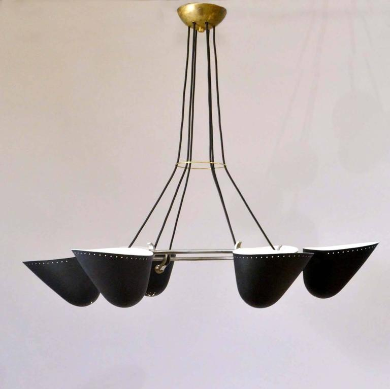 Mid-20th Century Large Pair of 1950s Black Metal Chandeliers by A.B. Read for Troughton & Young