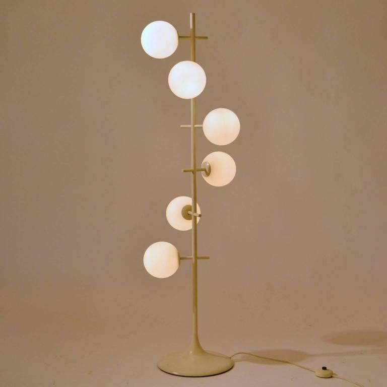 White and opaline glass globes floor lamp temde swiss 1970s at 1stdibs minimal 1960s floor lamp in the style of max bill manufactured by german swiss aloadofball Images