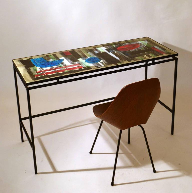 Mid-Century Modern 1960s Hand-Painted Ceramic Console or Desk on Black Metal Frame by Belarti For Sale