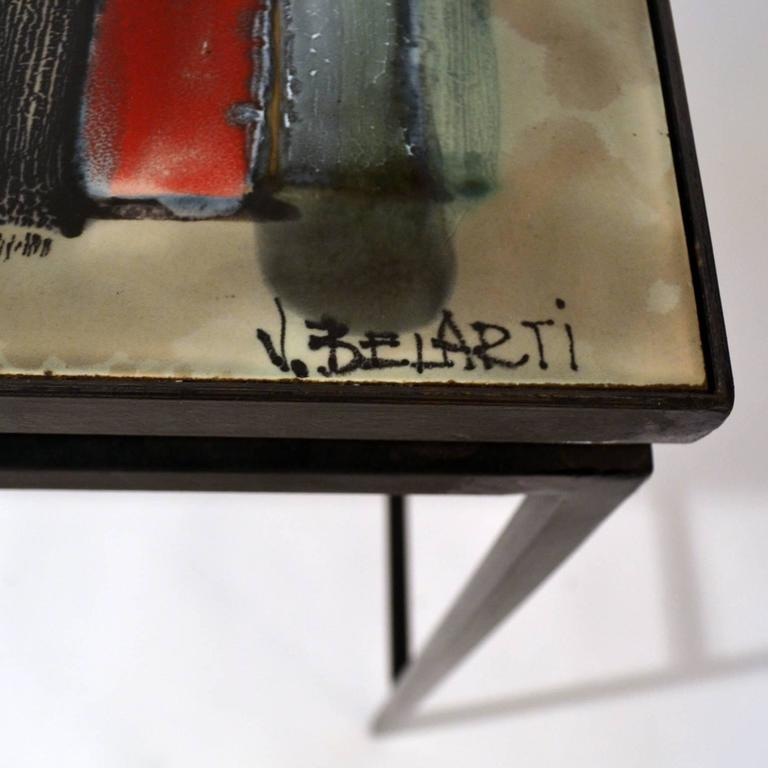 1960s Hand-Painted Ceramic Console or Desk on Black Metal Frame by Belarti In Excellent Condition For Sale In London, GB