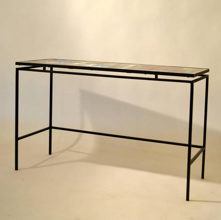 1960s Hand-Painted Ceramic Console or Desk on Black Metal Frame by Belarti For Sale 2