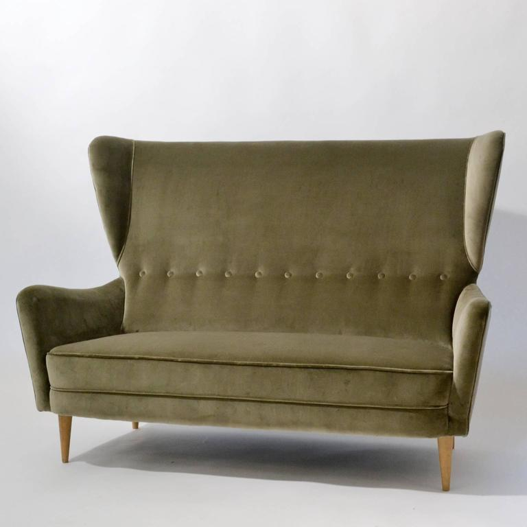 Excellent 1950's Italian Paolo Buffa Two-Seater Wingback Sofa in Grey Velvet  UK26