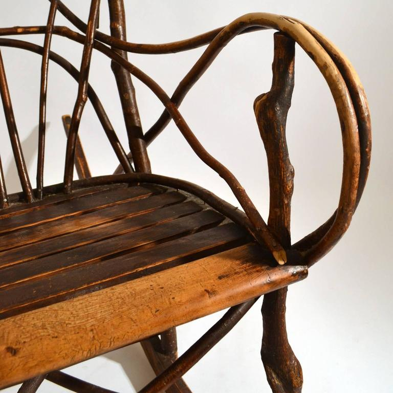 Early 20th Century Scandinavian Rocking Chair Bent Wood Willow For Sale At 1stdibs