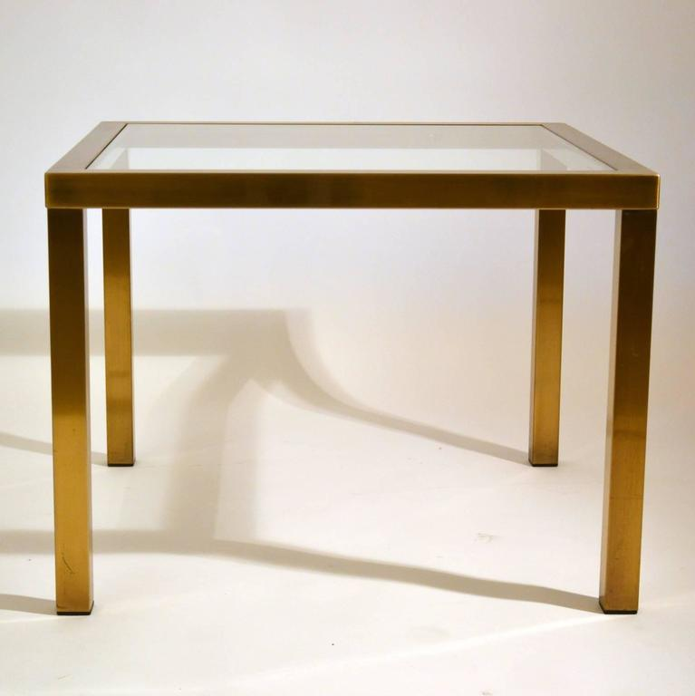 Metal Square Coffee Table With Glass Top And Triangular: 1970s Minimal Square Brass Coffee Table With Clear Glass