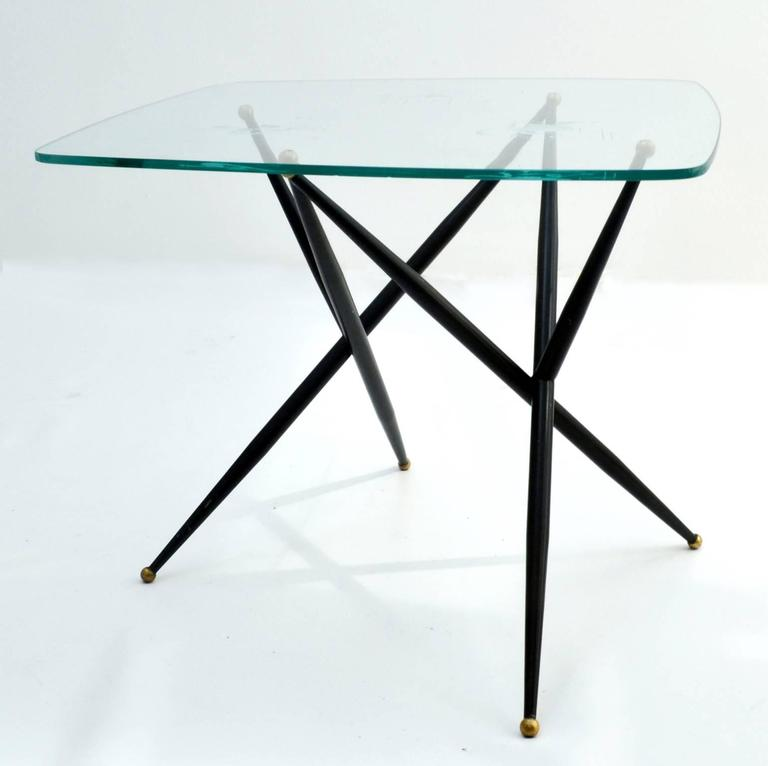 Italian Etched Glass Top Coffee Table on Black Metal Leg For Sale 1