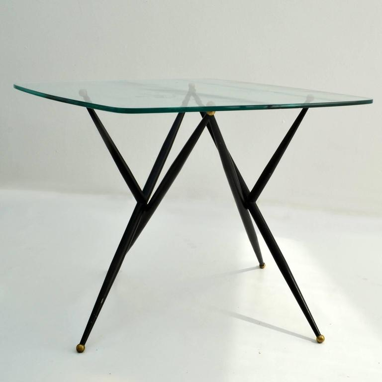 Italian Free Form Etched Glass Top Coffee Table On Dynamic Black Metal Leg  For Sale