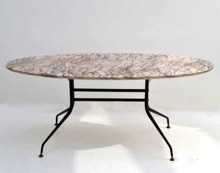 1950s Italian Oval Marble Coffee Table On Black Metal Frame At 1stdibs