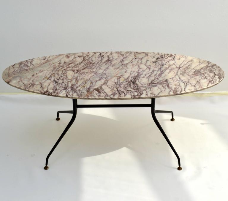 Oval Coffee Table With Metal Legs: 1950s Italian Oval Marble Coffee Table On Black Metal