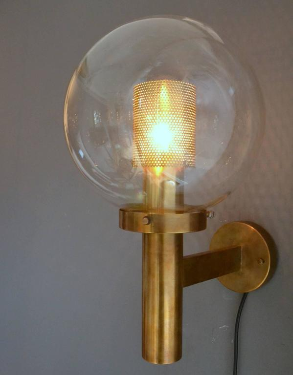 Mid-Century Modern Pair of Brass and Glass Perforated Sconces by Hans-Agne Jakobsson for Markaryd For Sale