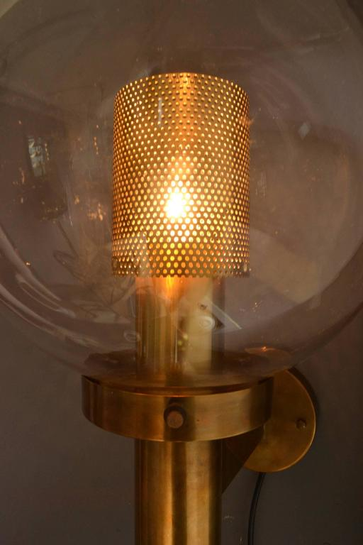 Swedish Pair of Brass and Glass Perforated Sconces by Hans-Agne Jakobsson for Markaryd For Sale