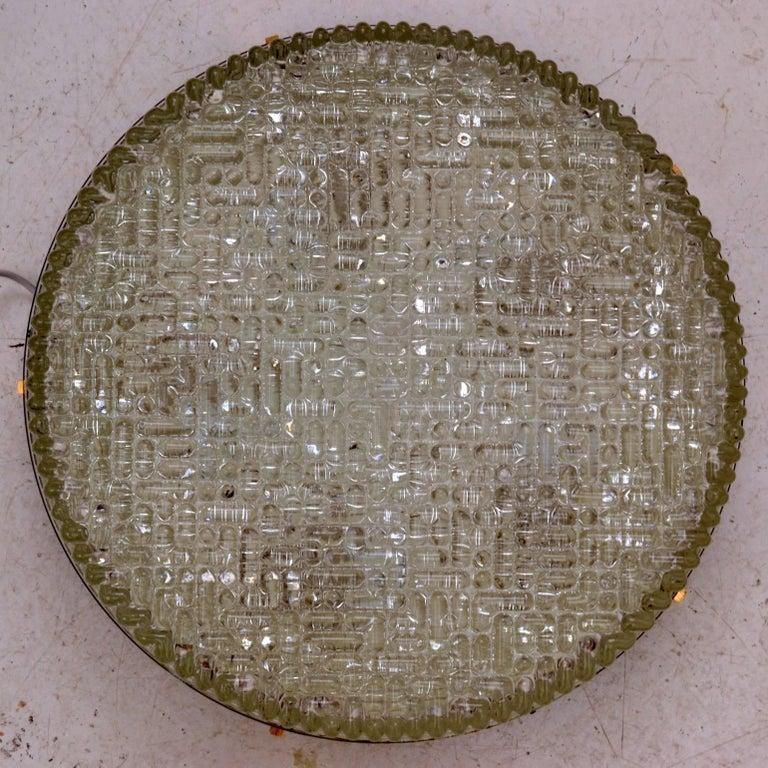 German Large Flush Mount Glass Pendant of wall lights by N Leuchten For Sale