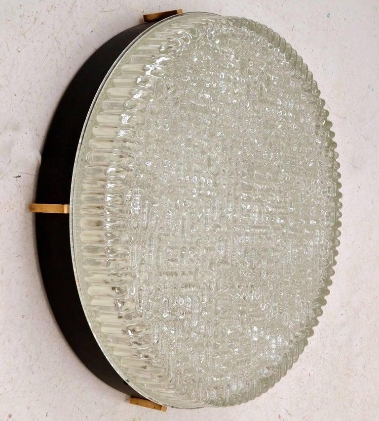 Mid-Century Modern Large Flush Mount Glass Pendant of wall lights by N Leuchten For Sale