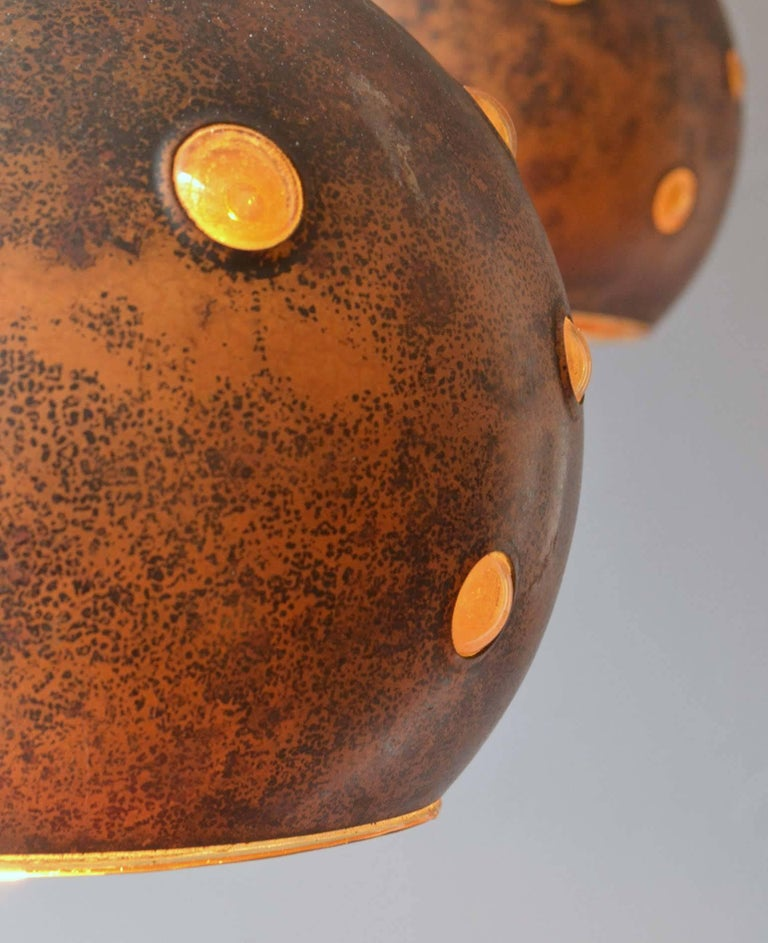 1960s Pair of Spherical Copper and Yellow Glass Pendant Lamps by Nanny Still In Excellent Condition For Sale In London, GB