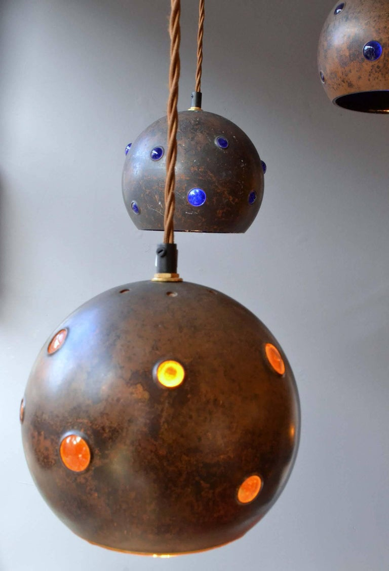 1960s Pair of Spherical Copper and Yellow Glass Pendant Lamps by Nanny Still For Sale 1